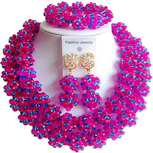 laanc fashion Womens Jewelry Sets 2Layer Mixed Color Ball Nigerian Jewelry Sets Wedding African Bead Jewelry Sets (Hot Pink Lake - Woman African Hot