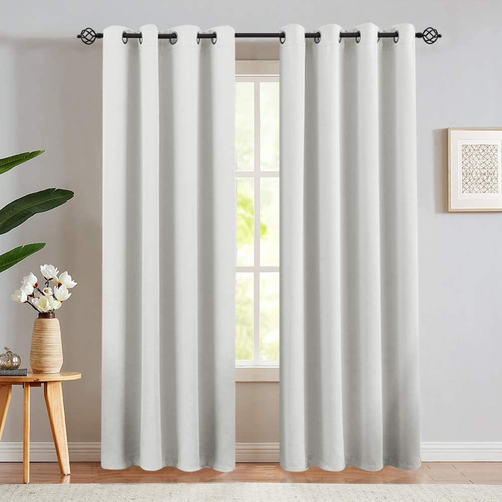 Window Curtains Light Reducing 84 inch Long Set of 2 Panels Grommets Top Curtains for Bedroom Living Room Greyish White