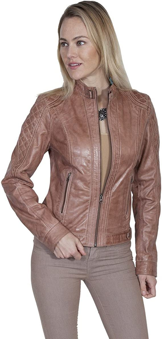 Vintage 80s Brown Leather Scully Label Shortie Motorcycle Jacket Bolero Size SM Belted