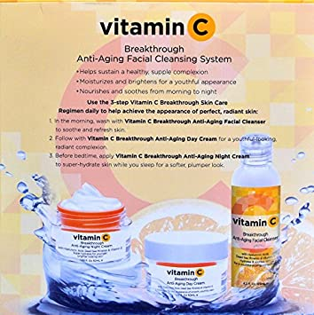 VITAMIN C BREAKTHROUGH ANTI-AGING FACIAL CLEANSING SYSTEM 3-piece set includes: (