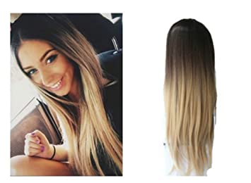 Devalook Hair Extensions 24 Inches No Front Parting Half Head Wig Long Ombre 3 4 Weave Brown Blonde Straight Dark Brown Sandy Blonde