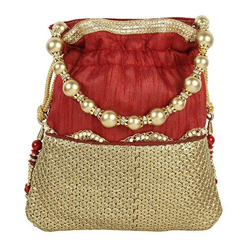 à Maroon femme Collection main Colured Sac Superbe pour indienne traditionnelle à main Sac Broderie Polti dZ0qw6