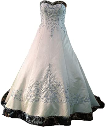 Zvocy White Satin Camo Wedding Dresses A Line Camouflage