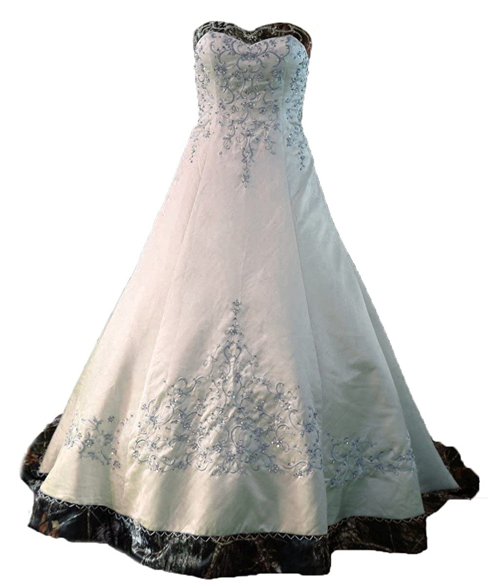 ef54d2f75 Satin Lace up Back with Buttons Court Train Wedding Dresses Camo Sweetheart  Satin A line Embroideried Camo Wedding Dresses for Bride 2018 Camouflage  Bridal ...