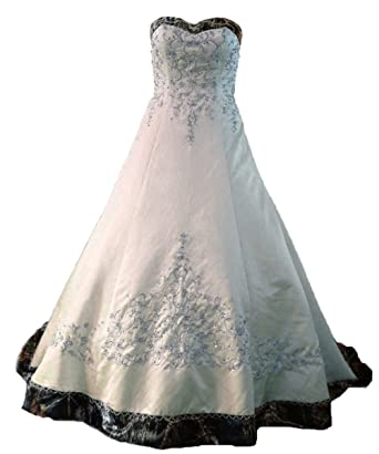 ZVOCY White Satin Camo Wedding Dresses A-Line Camouflage Embroidery ...