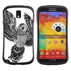 Hybrid Anti-Shock Bumper Case for Samsung Galaxy Note 3 / Beautiful Japanese Tattoo Owl