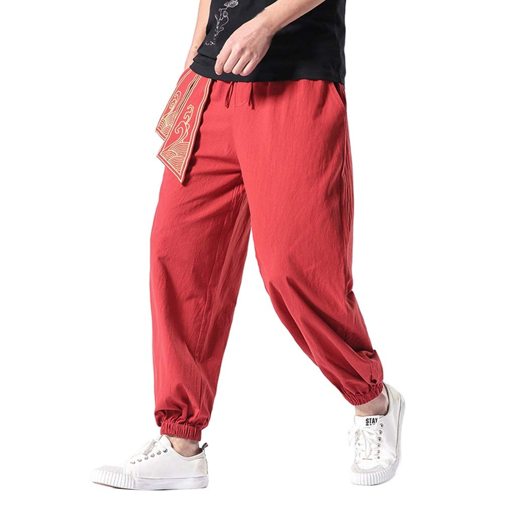 Allywit Men's Pants, Linen Retro Pants Gym Fitness Long Trouser Workout Elastic Waist Joggers Baggy Pants Big and Tall Wine