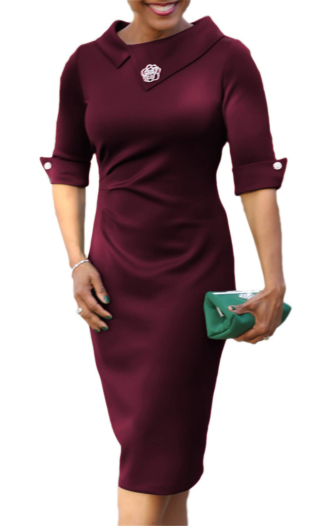 Women's Lapel Solid Color Elegant Sheath High Waist Formal Dress Wine Red Large