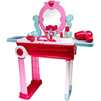 Zest 4 Toyz 2 in 1 Pretend to Play Cosmetic and Makeup Toy Set Kit for Little Girls,Beauty Dresser Table Play Set with Mirror, Hair Dryer Fashion & Makeup Accessories, Beauty Set Makeup Kit for Girls