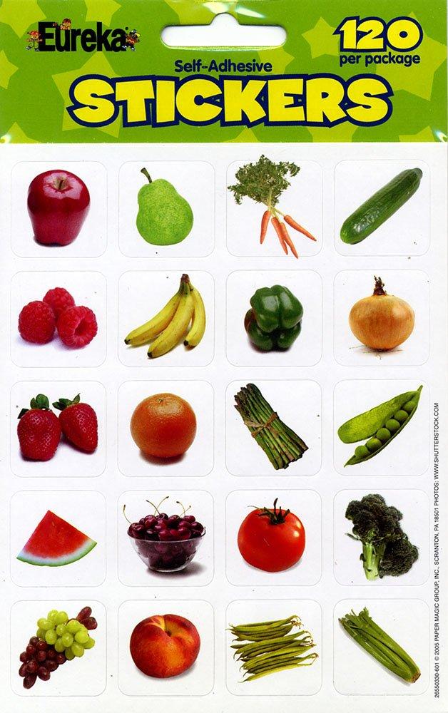 Paper Magic 655033 Eureka Fruits and Vegetables Photos Stickers Inc. Paper Magic Group