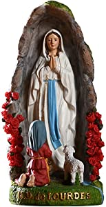 Our Lady Virgin Mary Statue Lourdes Grotto Figure, Resin Collectible Ornaments, Religious Gifts, Room and Garden Decoration Sculpture