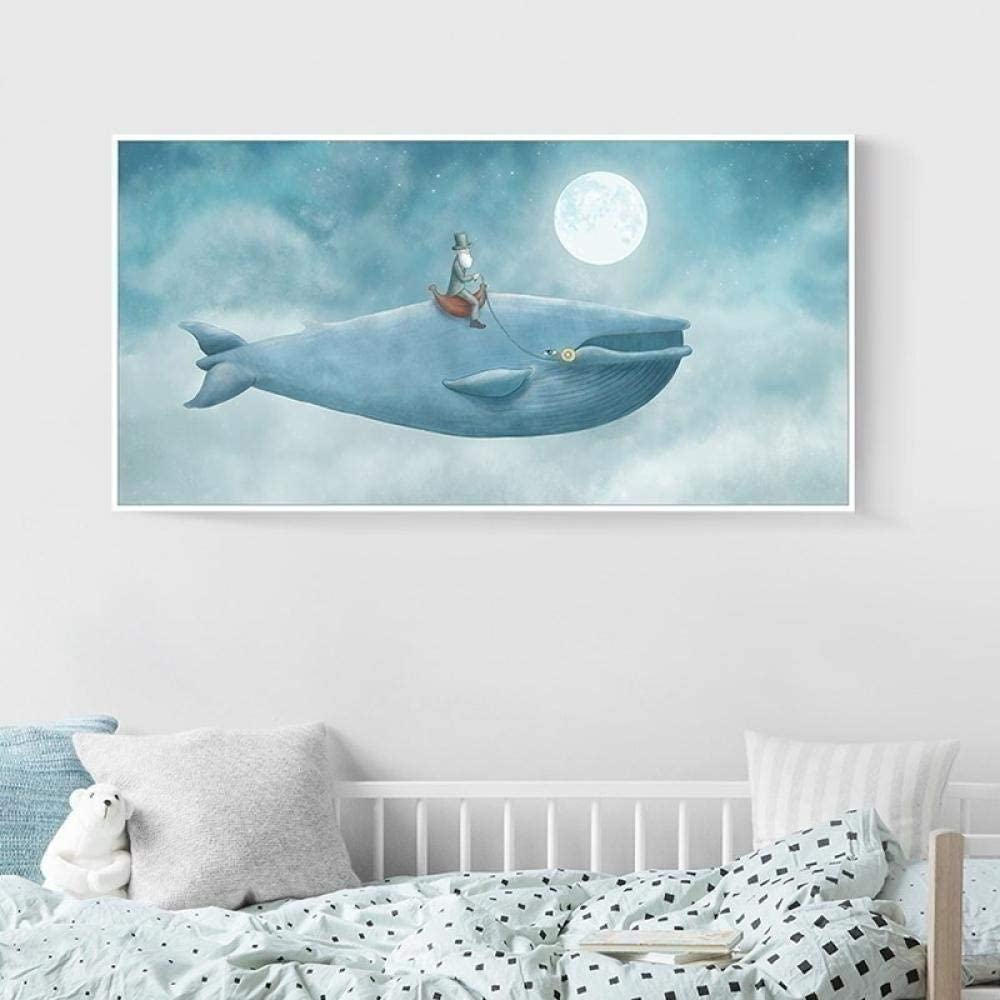 nobrand Abstrakter Wal im blauen Himmel Kinderzimmer Dekor Leinwand Gem/älde Wandkunst Poster Drucke Bilder Kinderzimmer Wohnkultur-40x80cm ohne Rahmen