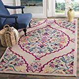 Bohemian Floral Medallion Design Area Rug, Exotic Wild Nature Flowers Themed, Rectangle Indoor Outdoor Hallway Living Area Adults Kids Bedroom Carpet, Stylish Handmade Motif, Pink, Blue, Size 4' x 6'