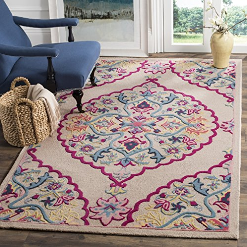 Bohemian Floral Medallion Design Area Rug, Exotic Wild Nature Flowers Themed, Rectangle Indoor Outdoor Hallway Living Area Adults Kids Bedroom Carpet, Stylish Handmade Motif, Pink, Blue, Size 4' x 6' by S & E
