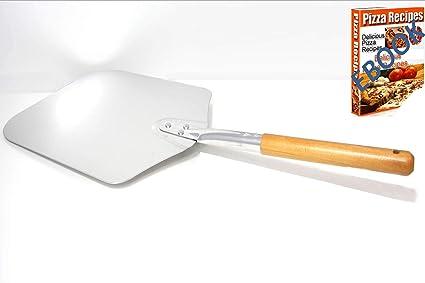 Pala para Pizza Piedras para Pizza de Aluminio con Mango de Madera Professional Para Cocina Horno