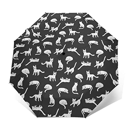 NA The White And Black Cat Automatic Tri-fold Umbrella Outer Print One Size