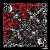 "Celtic Cross and Gothic Skulls Biker Bandana Measures 21""x21"""