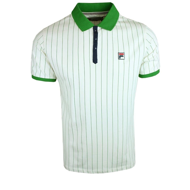 Fila BB1 Polo T-Shirt Cream/Green Stripe