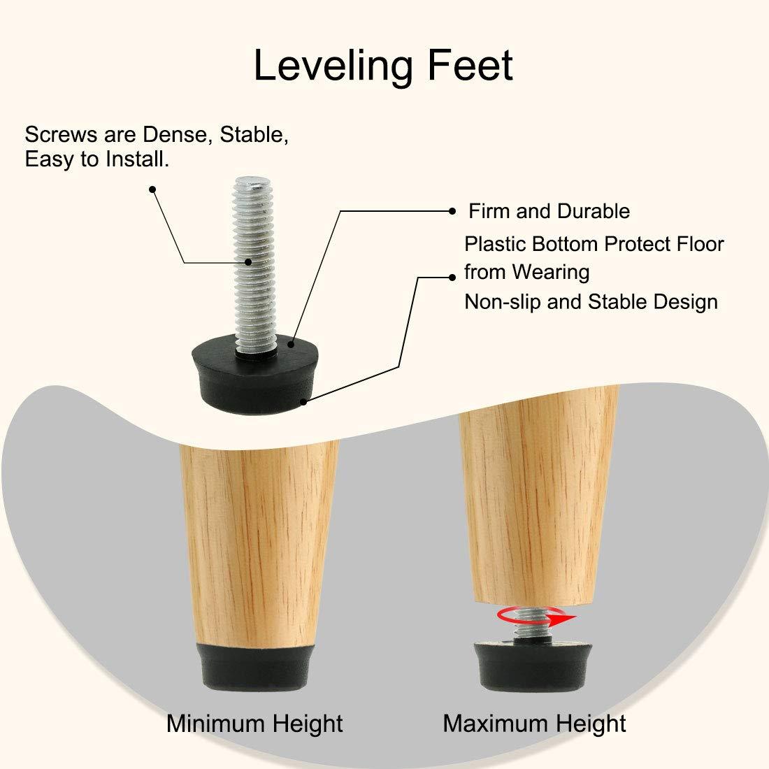 uxcell M6 x 24 x 18mm Furniture Glide Leveling Feet Adjustable Leveler Floor Protector for Table Desk Leg 10 Pack