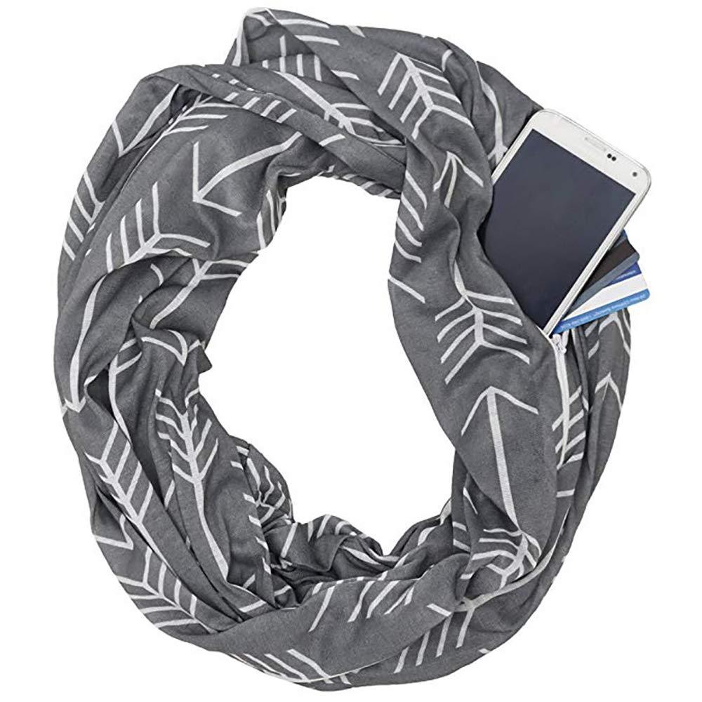 HSRG Storage Moda Donna Infinity Zipper Tasca Sciarpa Sciarpa Wrap, Sciarpe Infinity, Sciarpa Di Viaggio,Orange