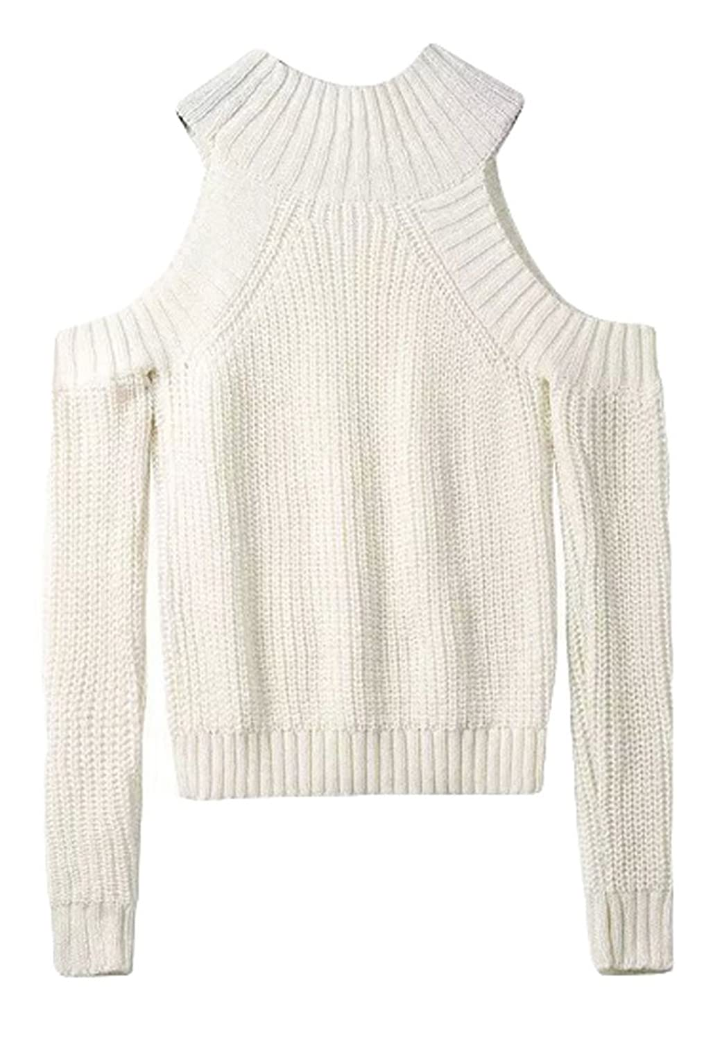 King Ma Womens High Neck off shoulder Long Sleeve Cable-knit Pullover Sweater