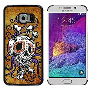 Colorful Printed Hard Protective Back Case Cover Shell Skin for Samsung Galaxy S6 EDGE / SM-G925 / SM-G925A / SM-G925T / SM-G925F / SM-G925I ( Crossbones Gold Rustic Skull Octopus )