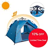 Camping Pop Up Tent 3-4 Person Quick Setup Family Beach Outdoor Tents UV Protection with Carry Bag