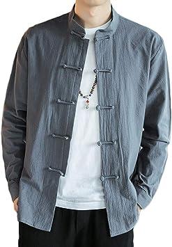 QitunC Hombres Collar de Pie Camisa Chaqueta Retro Estilo Chino Mezcla de Lino Abrigos Traje Tang: Amazon.es: Deportes y aire libre