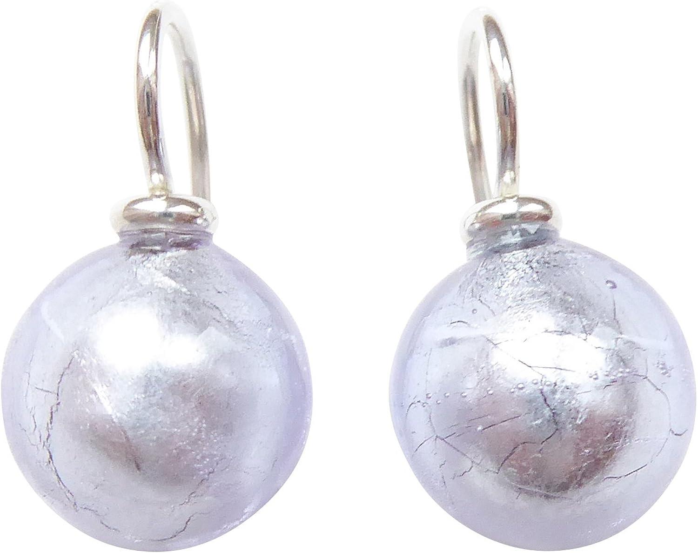 zart lilafarben vivos pendientes de pedida Mur Ano Cristal con un asa de plata de ley