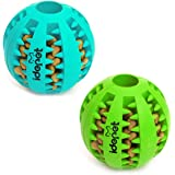 Idepet Dog Toy Ball, Nontoxic Bite Resistant Toy Ball for Pet Dogs Puppy Cat, Dog Pet Food Treat Feeder Chew Tooth…