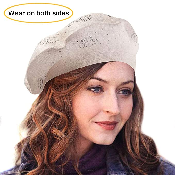 LADYBRO Wool Winter Berets for Women Rhinestones Double Layers Headgear Knit  Hats d1d331e5c78