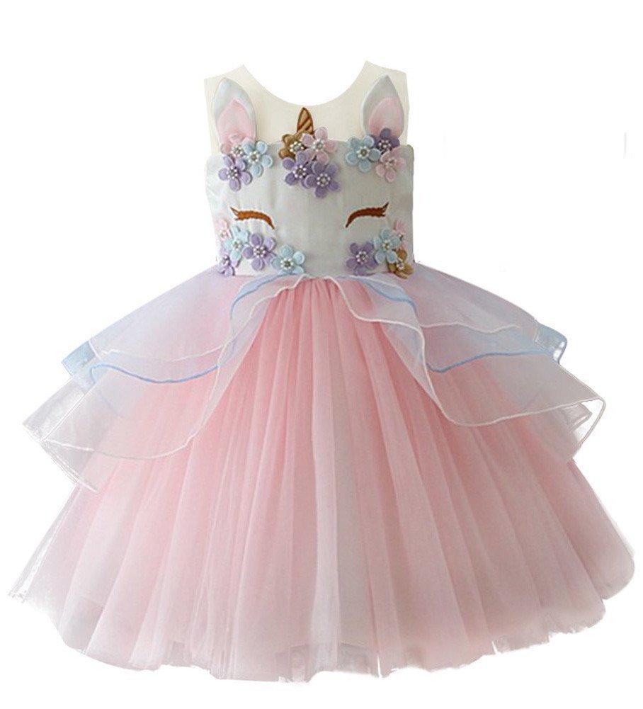 6cca0aa664d64 Baby Flower Girls Dresses Tulle Tutu Birthday Party Unicorn Costume Cosplay  Princess Pageant Dress up Prom Weddings Dance Summer Sundress Princess Size  18M ...