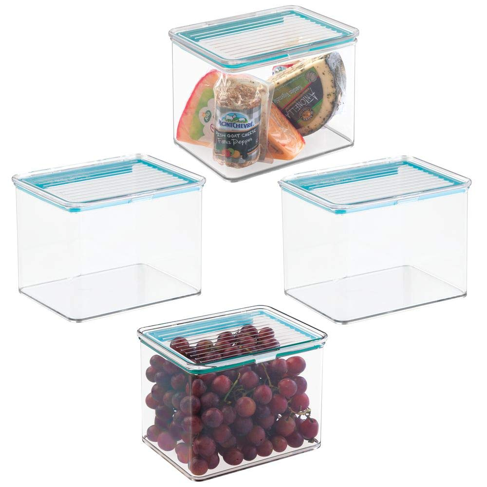mDesign Airtight Stackable Kitchen Pantry Cabinet Food Storage Container - Attached Hinged Lid - Compact Bin for Pantry, Refrigerator, Freezer - BPA Free, Food Safe - Holds 2 Quarts - 4 Pack - Clear