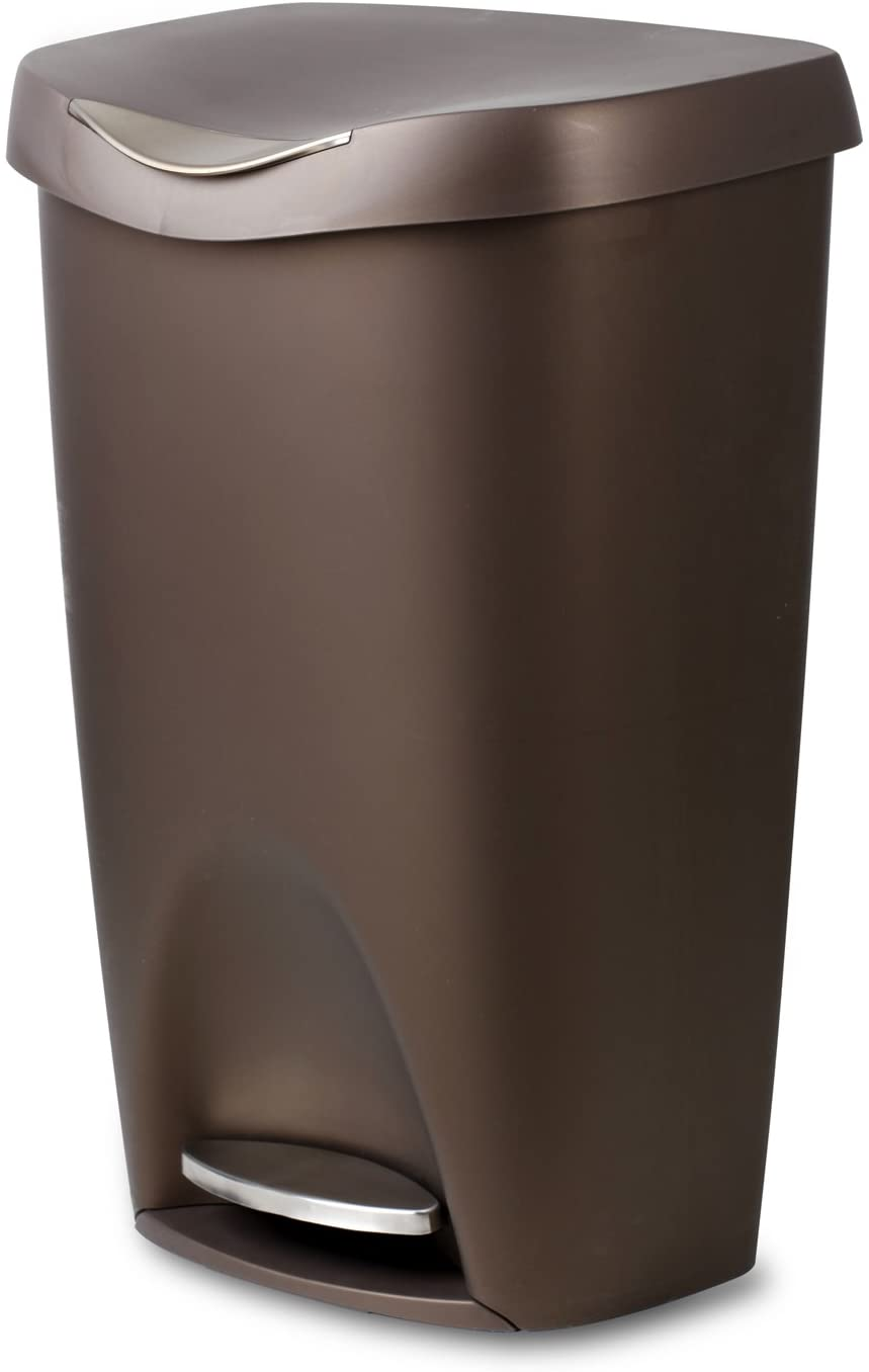 Amazon Com Umbra 084200 125 Bronze Brim Large Kitchen Trash Stainless Steel Foot Pedal Stylish And Durable 13 Gallon Step Garbage Can With Lid Home Kitchen