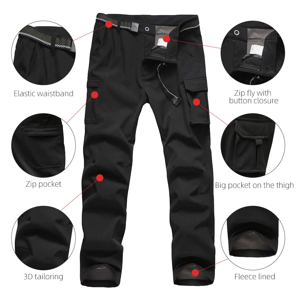 JOMLUN Boys Waterproof Softshell Pants Windproof Warm Fleece Lined Trousers for Outdoor Ski Hiking Walking