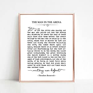 The Man in the Arena, Theodore Roosevelt Quote, Graduation Gift, Inspirational Art, Office Decor, Typography Wall Art, 8x10 inch Unframed