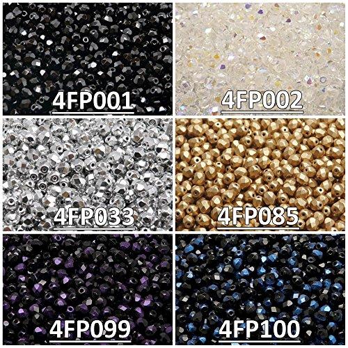 600 Beads 6 Colors Czech Fire-Polished Glass Beads Round 4 mm, Set 430 (4FP001 4FP002 4FP033 4FP085 4FP099 4FP100)