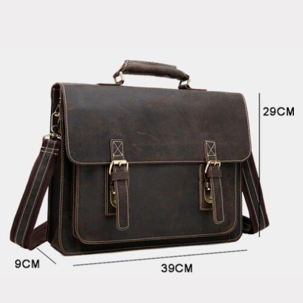 Herren Tasche Crazy Horseskin Vintage Sohle Leder Rindsleder Messenger Braun Bag 14 \
