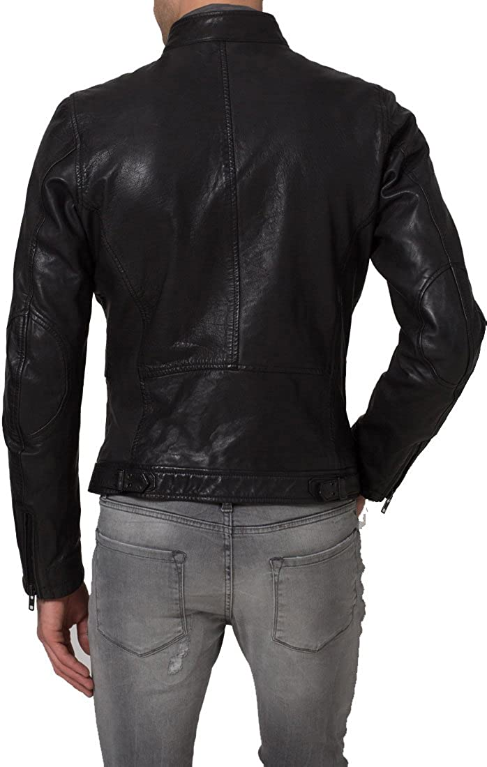 Mens Genuine Lambskin Leather Jacket Slim Fit Moto Biker Jacket T357