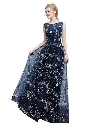 5664738417 Beauty-Emily A-Line Layers Maxi Sequin O-Neck Sleeveless Brilliant Star  Elegant