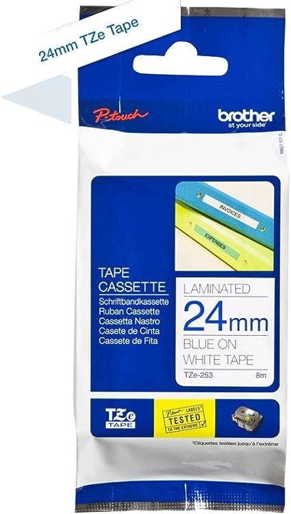DRUCKER SCHRIFTBAND KASSETTE 24mm SCHWARZ-BLAU für BROTHER P-Touch TZ-551