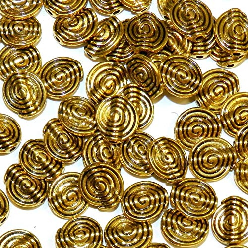 Pendant Jewelry Making Antiqued Gold 11mm Flat Round Swirl Textured Metal Spacer Beads 100pc