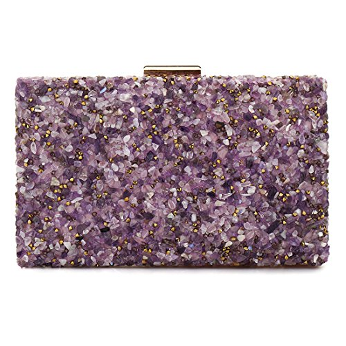 Elegant Sparkling Glitter Evening Clutch Bags Bling Evening Handbag Purses For Wedding Prom Bride (Purple)