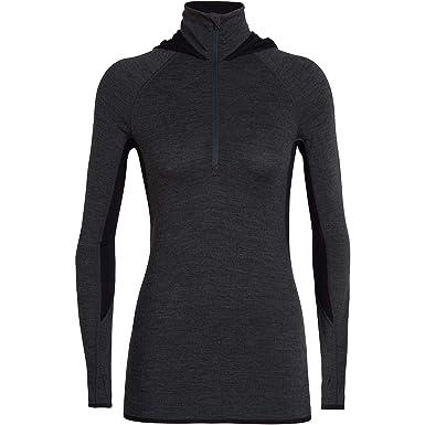 86d7f71f Icebreaker Fluid Zone Long Sleeve Half Zip Hood - Womens, Jet HTHR/Black,  M, 104078002M at Amazon Women's Clothing store: