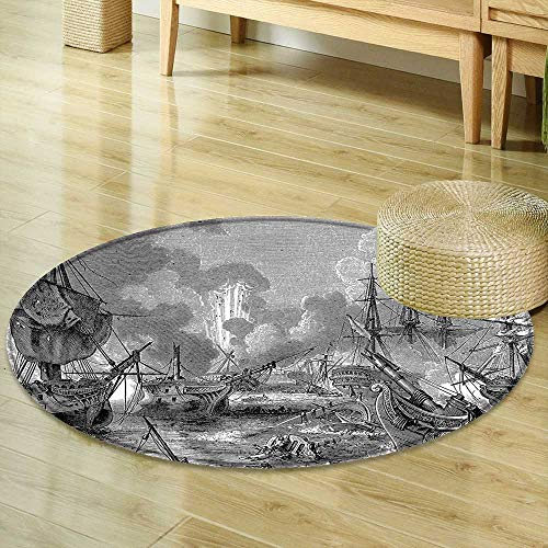Mikihome Round Rugs for Bedroom War Battle of Navarino Naval Armada Sinking Sailing Vessels Historical Warfare Portrait Circle Rugs for Living Room R-47