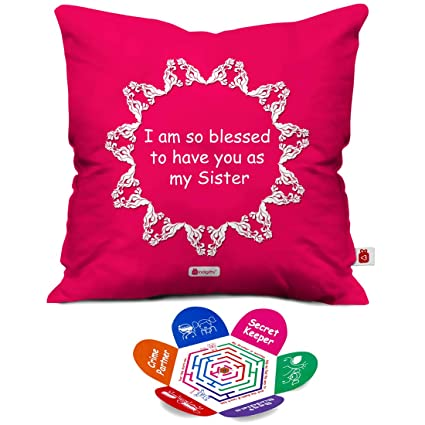 Indigifts Raksha Bandhan Gifts For Sister Bhena Is A Blessing Quote Pink Cushion Cover 12x12 Inches