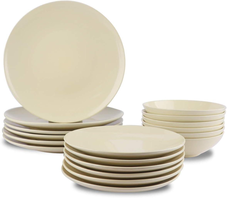 AmazonBasics 18-Piece Stoneware Dinnerware Set - Cream, Service for 6