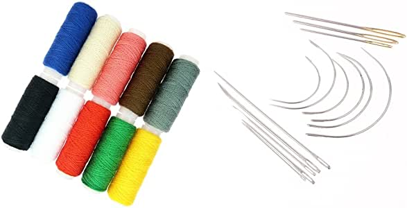 Sharplace 24Pcs / Lot Hand Repair tapicería Coser Agujas e Hilos curvados para alfombras: Amazon.es: Hogar