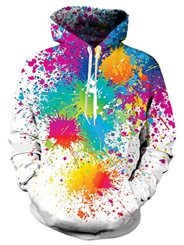 Men's 3D Rainbow Paint Printed Pullover Long Sleeve Oversized Fleece Hooded - Fleece Colorblock Mens Pullover