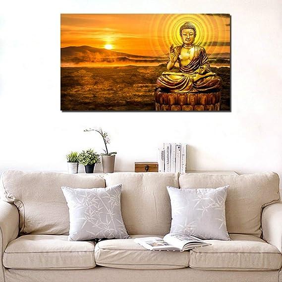 YuanMinglu Buda Figura mítica meditación Templo Lienzo Arte Cartel Pintura de la Pared Pintura al óleo Moderna impresión Dormitorio decoración del hogar Pintura sin Marco 72x108cm: Amazon.es: Hogar
